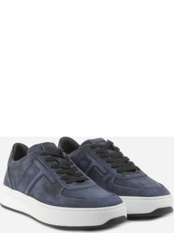 Tod's Blue Nabuk Sneaker In Suede