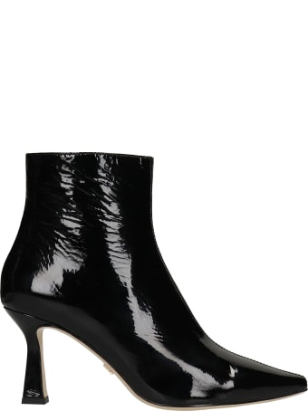 Lola Cruz High Heels Ankle Boots In Black Patent Leather