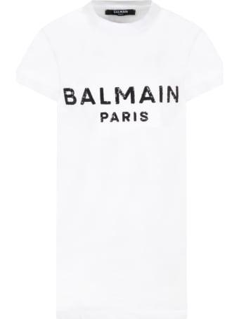 Balmain White Dress For Girl With Black Logo