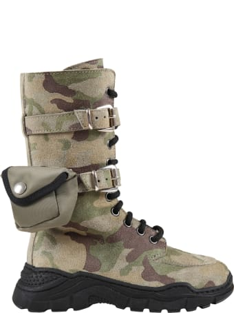 Gallucci Green Boots For Kids With Pocket