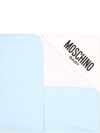 Moschino Light Blue Blanket For Babyboy With Teddy Bear