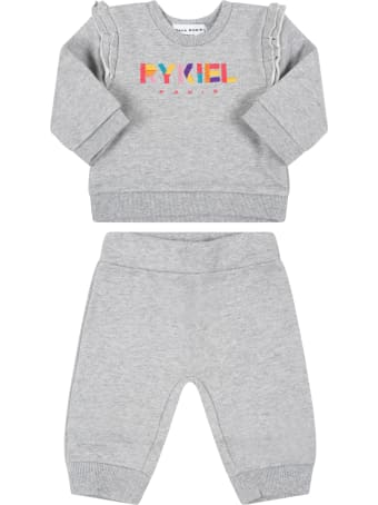 Sonia Rykiel Grey Tracksuit For Girl With Logo