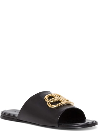 Balenciaga Leather Oval Bb Slip-on Sandals