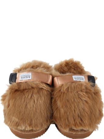 SUICOKE Beige Sandals For Kids With Logo
