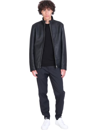 Theory Leather Jacket In Black Leather