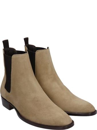 Marc Ellis Low Heels Ankle Boots In Beige Suede