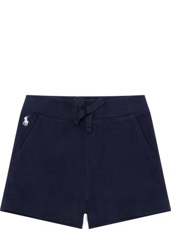Ralph Lauren Blue Short For Babykids Wih Pony Logo