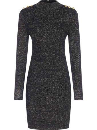 Balmain Buttons-detail Lame  Knit Mini Dress