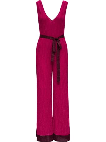 M Missoni Pink Jumpsuit In Rayon Blend With Belt