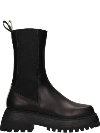 3JUIN Tokio 020 Combat Boots In Black Leather
