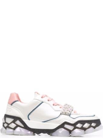 Jimmy Choo Diamond X Strap Leather Sneakers