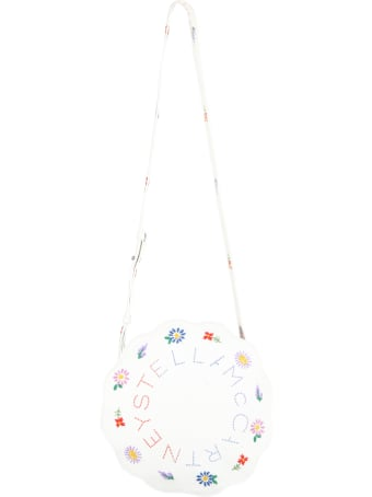 Stella McCartney Kids White Bag For Girl With Flowers