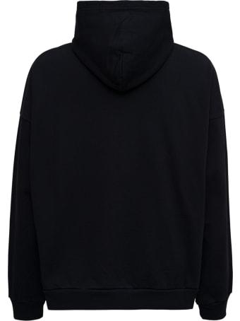Balenciaga Black Cotton Hoodie With Logo Print
