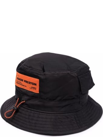 HERON PRESTON Bucket Hat In Black Nylon With Pockets, Logo Patch And Drawstring
