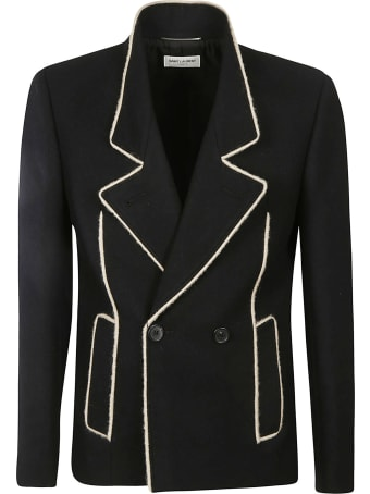 Saint Laurent Woven Trimmed Double-breasted Jacket