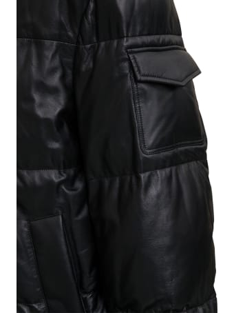 ARMA Black Quilted Leather Down Jacket