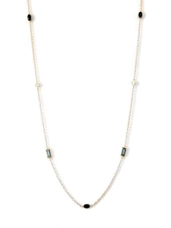 Lo Spazio Jewelry Lo Spazio Aquamarine, Blue Sapphire and Diamond Necklace