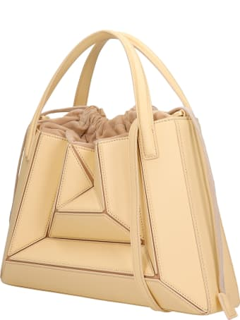 Mlouye Sera Tote  Hand Bag In Beige Leather