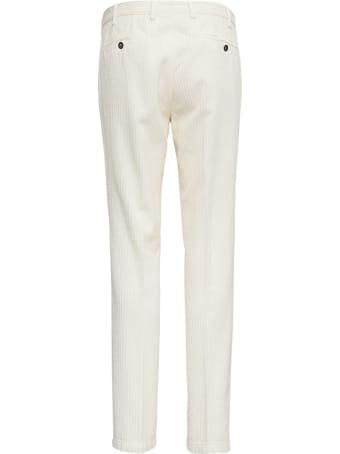 Lardini White Velvet Tailored Trousers