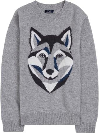 Il Gufo Grey Wool Sweater With Wolf Print