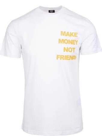 Make Money Not Friends White T-shirt With Yellow Logo And Rhinestone Dollar