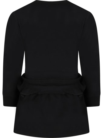 Givenchy Black Dress For Girl With Red Logo