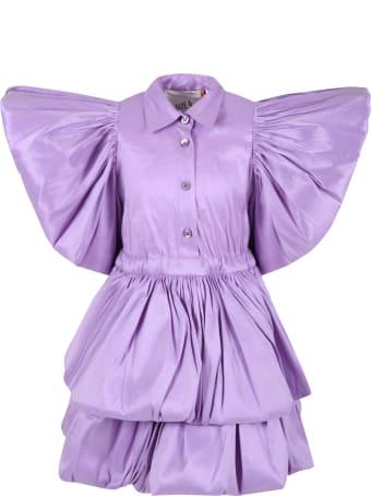 Caroline Bosmans Lilac Dress For Girl With Ruffle