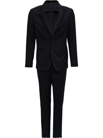 Tonello Single Breasted Tailored  Black Wool Suit