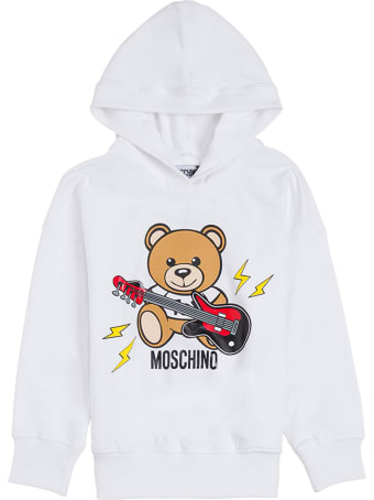 Moschino White Cotton Hoodie With Teddy Rock Print