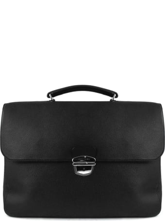 Orciani Black Leather Large Briefcase