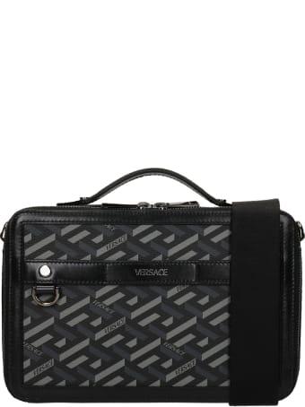 Versace Hand Bag In Black Polyuretan
