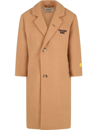 Bobo Choses Beige Coat For Kids With Logo