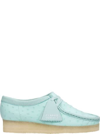 Clarks Wallabee Lace Up Shoes In Green Leather