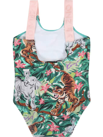 Kenzo Kids Green Swimsuit For Babygirl