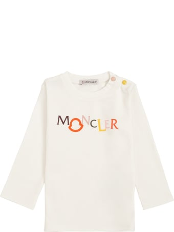 Moncler Long-sleeved Cotton T-shirt With Logo Print