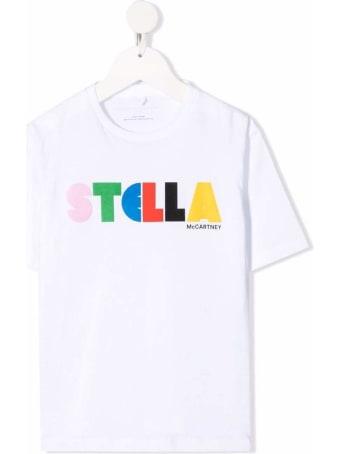 Stella McCartney Kids White Cotton T-shirt With Logo Print