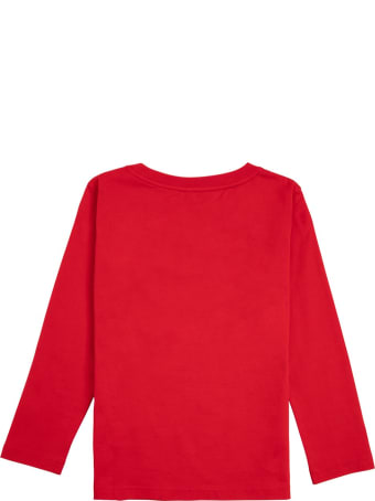 Givenchy Red Long-sleeved Cotton T-shirt With Logo Print
