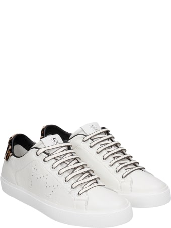 Leather Crown Sneakers In White Leather