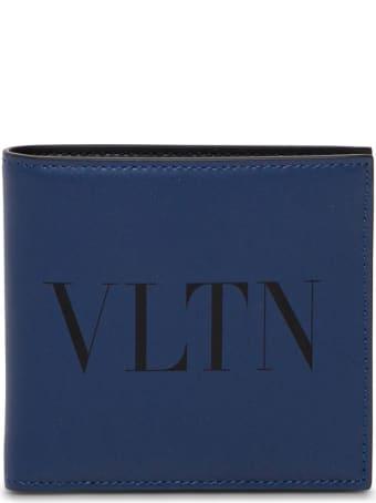 Valentino Garavani Vltn Bifold Wallet In Blue Leather