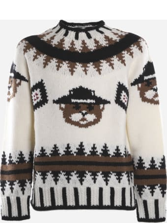 Dsquared2 Wool Pullover With Knitted Inlay