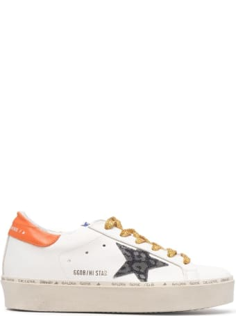 Golden Goose White Leather Hi Star Sneakers