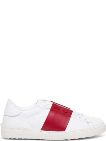 Valentino Garavani Open Leather Sneakers With Red Side Band