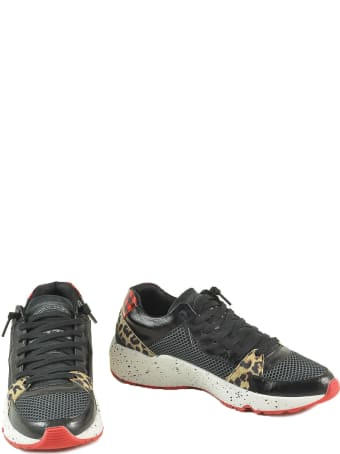 P448 Black Leather & Mesh Mid-top Sneakers