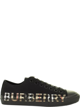 Burberry Larkhall M - Cotton Gabardine Trainer With Logo And Vintage Check Pattern