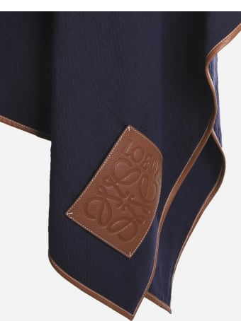 Loewe Linen Blend Cape With Anagram Leather Patch
