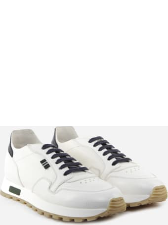 Green George White Leather Sneakers