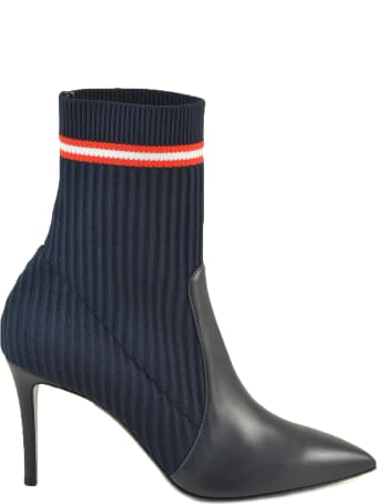 Paoloni Dark Blue Leather And Fabric Sock Booties
