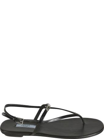 Prada Side Buckled Flat Sandals