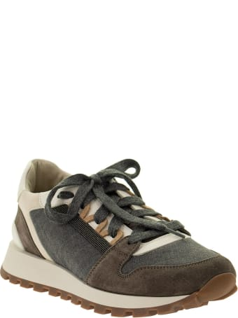 Brunello Cucinelli Runners In Suede, Virgin Wool And Textured Leather With 'precious Insert'