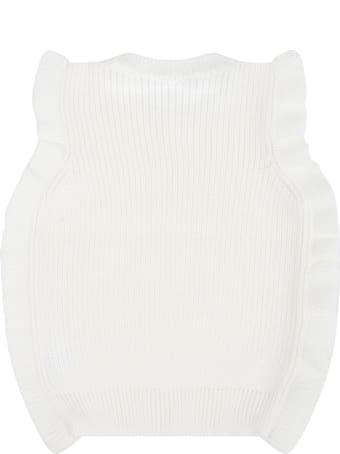Little Bear Ivory Vest For Baby Girl With Ruffles